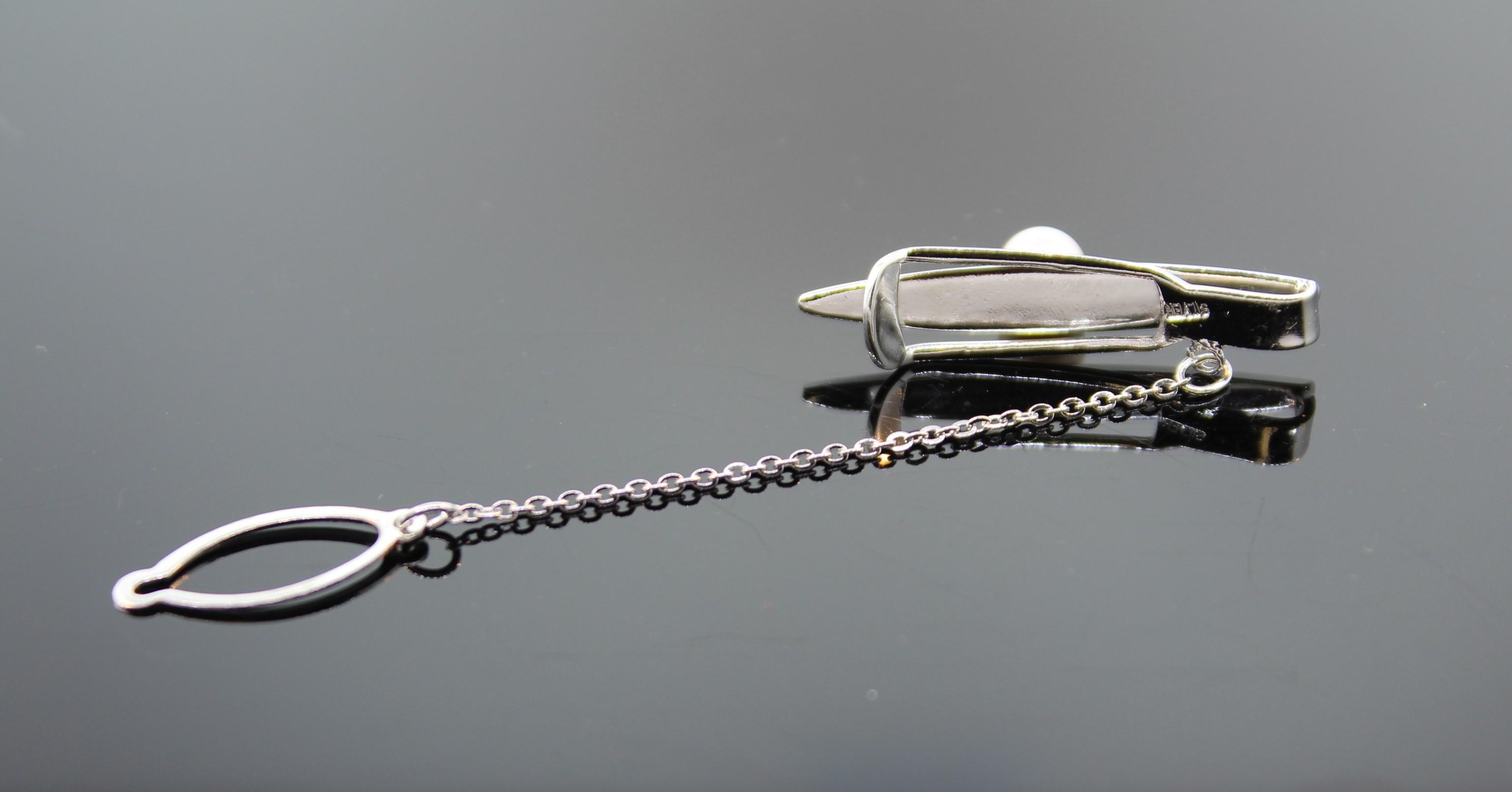 Krawattenklammer  silbern matt 2 Wahl KLS001 9T Set Manschettenknöpfe